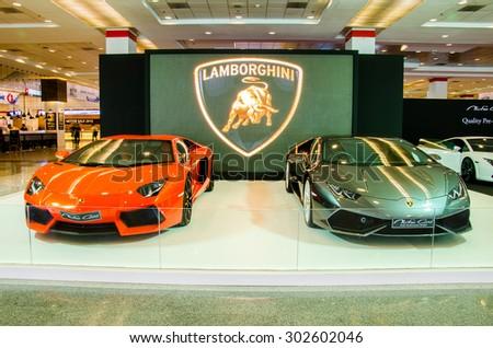 BANGKOK - AUGUST 1 : Lamborghini car on display at Bangkok International Grand Motor Sale 2015 (Big Motor Sale 2015) is exhibition of vehicles for sale on August 1, 2015 in Bangkok, Thailand. - stock photo