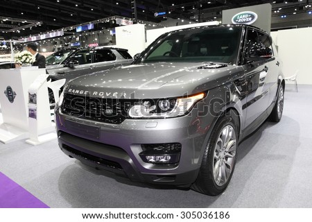 BANGKOK - August 4: Range Rover car on display at Big Motor sale on August 4, 2015 in Bangkok, Thailand. - stock photo