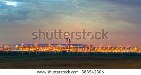 BANGKOK-August 8: Suvarnabhumi Airport at twilight on August 8, 2015 in Bangkok ,Thailand. This airport is the world's third largest single building airport terminal designed by Helmut Jahn.