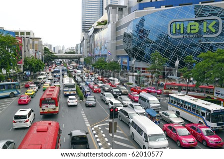 BANGKOK - AUGUST 29: The infamous Bangkok traffic grind back to normal at the Sukhumvit business district on August 29, 2010 after govt troops ended the Red Shirt protest. - stock photo