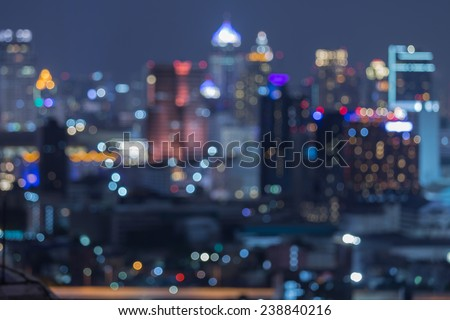 Bangkok blurred abstract background lights, beautiful cityscape view - stock photo