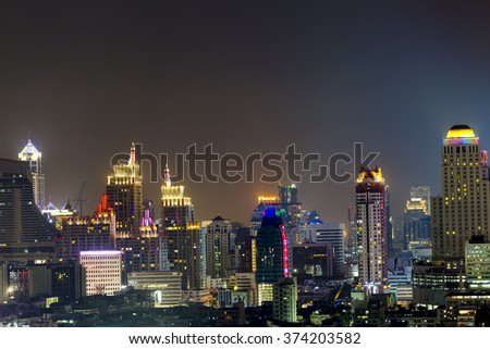 Bangkok business district at night time.
