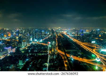 Bangkok city at night, Thailand at nighttime - stock photo