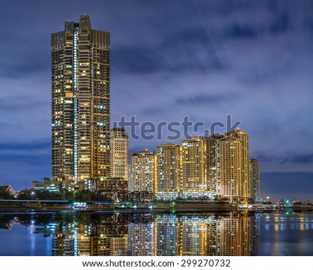 Bangkok City at night time, Hotel and resident area in the capit - stock photo