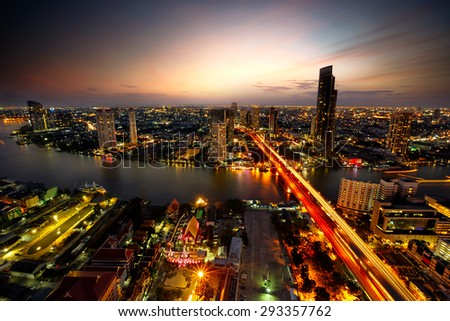 Bangkok city at sunset