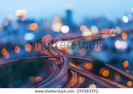 Bangkok city at sunset with main traffic, long exposure. - stock photo