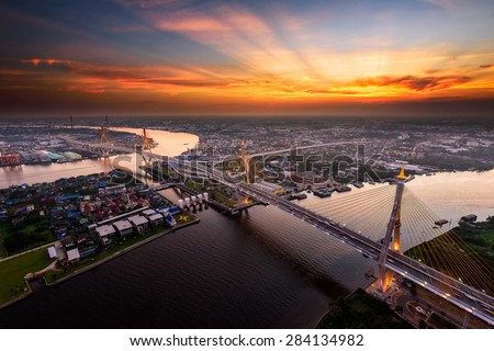 Bangkok City - Beautiful sunset view of Bhumibol Bridge,Thailand - stock photo