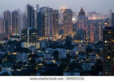 Bangkok city center night view from rooftop - stock photo