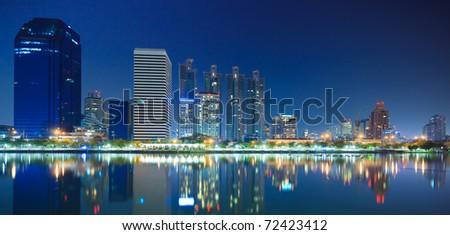 Bangkok city downtown at night Bangkok,Thailand - stock photo