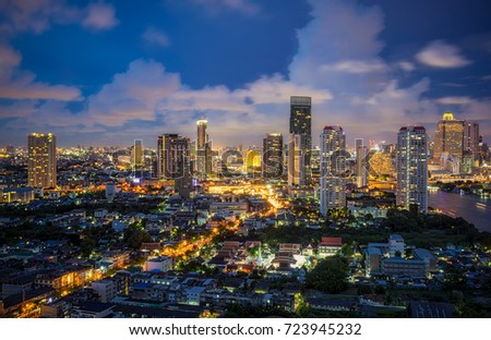 Bangkok city downtown at twilight  in Bangkok,Thailand