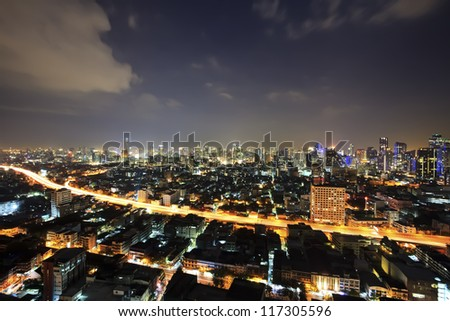 Bangkok city downtown top View at Night from top of Thailand - stock photo