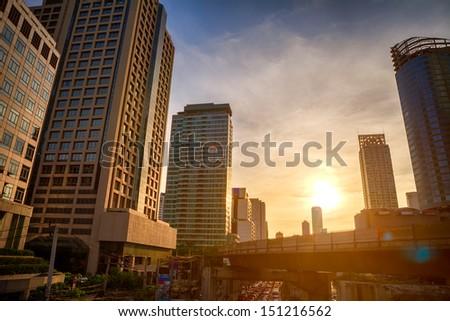 Bangkok city in evening - stock photo