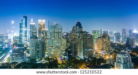 Bangkok city night view, Thailand - stock photo