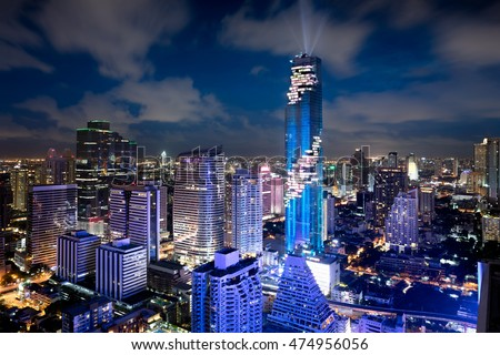 Bangkok city skyline, MahaNakhon tower is tallest buildings in Thailand, Silom area, Bangkok Thailand