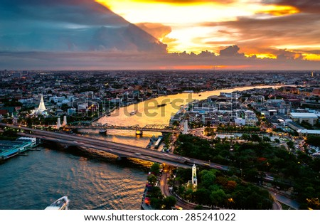 bangkok city sunset  Chao Phraya River - stock photo
