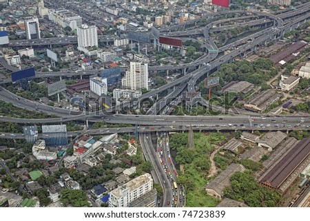 Bangkok city top view close-up photo - stock photo