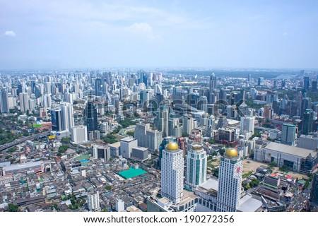 Bangkok Cityscape. Aerial view on Panorama of Bangkok, Thailand - stock photo