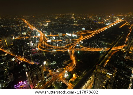 Bangkok cityscape at night - stock photo