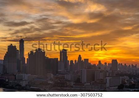 Bangkok cityscape at sunrise time - stock photo