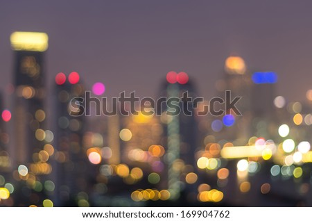 bangkok cityscape at twilight time, Blurred Photo bokeh - stock photo