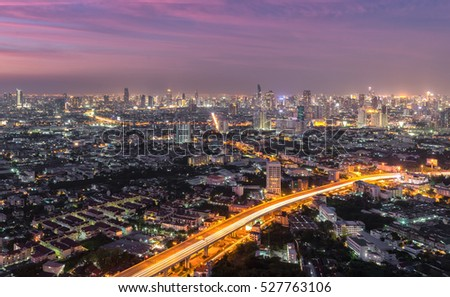 Bangkok cityscape. Bangkok night of  business view  in Thailand