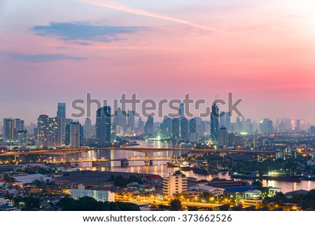 Bangkok cityscape. Bangkok night view in the business district. - stock photo