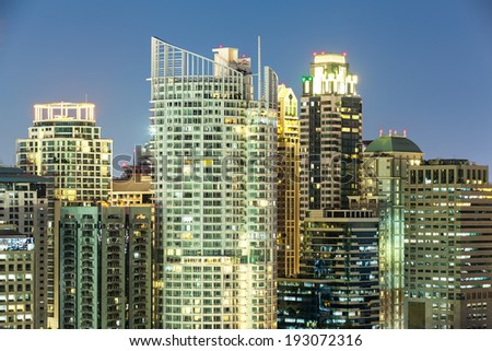 Bangkok Cityscape, Business district with high building at dusk (Bangkok, Thailand) - stock photo