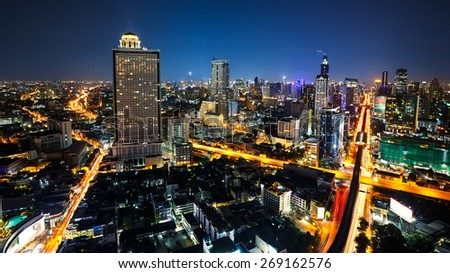 Bangkok cityscape business district with high building at dusk, Bangkok Thailand - stock photo