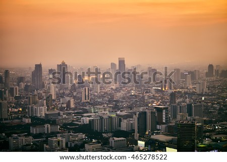Bangkok cityscape in the business district. Top view