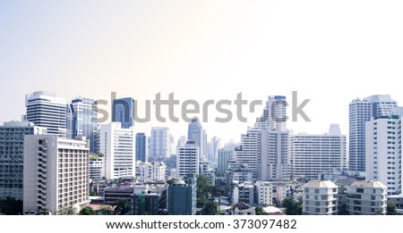 Bangkok cityscape of different office buildings and condos. - stock photo