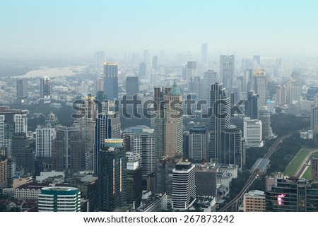 Bangkok cityscape,Thailand (aerial view from Baiyoke Sky Tower) - stock photo