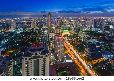 Bangkok cityscape top view at night with cloud - stock photo