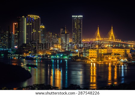 Bangkok Cityscape twilight, Business district with high building, Thailand. - stock photo