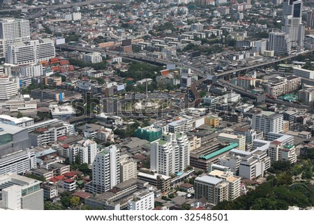 Bangkok cityscape - view of the city from the tallest building in Thailand, Baiyoke Tower 2.