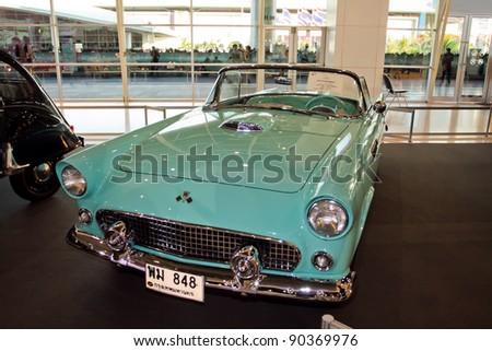 BANGKOK-DEC 04: Classic car Ford Thunderbird made in USA, year 1955 Display at Thailand International Motor Expo 2011 December 04 - Bangkok, Thailand - stock photo