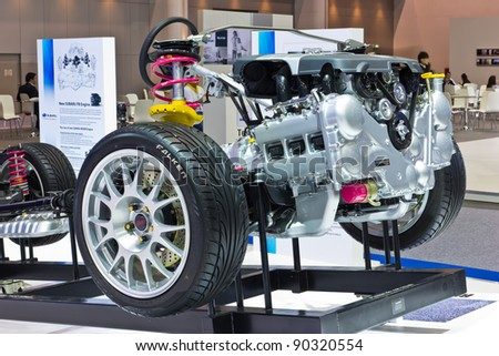 BANGKOK-DEC 01: Subaru car frame and Engine on Display at Thailand International Motor Expo 2011 ,December 01 in Bangkok, Thailand