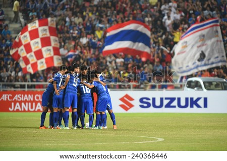 BANGKOK, DEC 17:Thailand team before the competition 2014 AFF Suzuki Cup between Thailand and Malaysia at Rajamangala stadium on December 17, 2014 in Bangkok, Thailand.