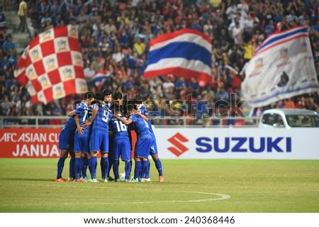 BANGKOK, DEC 17:Thailand team before the competition 2014 AFF Suzuki Cup between Thailand and Malaysia at Rajamangala stadium on December 17, 2014 in Bangkok, Thailand.  - stock photo