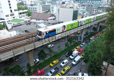 BANGKOK - December 11, 2015: BTS sky train, public transport. The choice of the citizens to avoid traffic congestion in Bangkok.