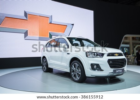 BANGKOK - December 5, 2015 : chevrolet Captiva car on display at Thailand International Motor Expo 2015, exhibition of vehicles for sale on December 5, 2015 in Bangkok, Thailand.