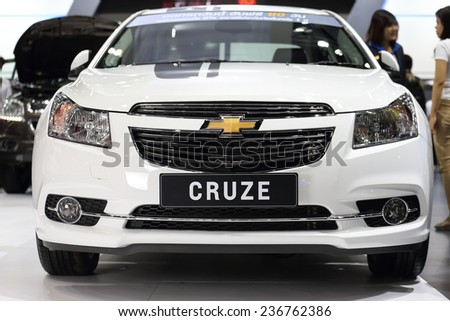 BANGKOK - DECEMBER 9 : Chevrolet Cruze displayed on stage in Motor Expo 2014, on dec. 9, 2014 in Bangkok, Thailand. - stock photo