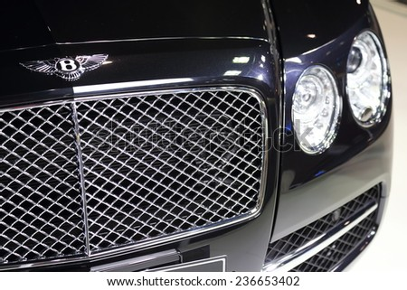 BANGKOK - DECEMBER 9 : Closed up of Bentley in Motor Expo 2014, on dec. 9, 2014 in Bangkok, Thailand. - stock photo