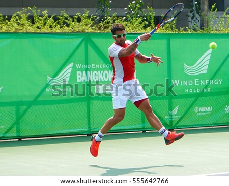 BANGKOK - December 31,2016-4 January 2017:   Janko Tipsarevicin ATP TOUR WIND ENERGY HOLIDING   at Rama Gardens Hotel on December 31, 2016 in Bangkok, Thailand.