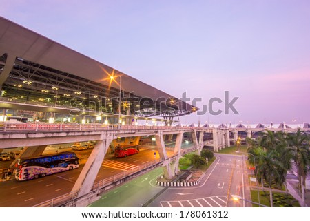 BANGKOK-DECEMBER 02: Suvarnabhumi Airport at morning on December 02, 2013 in Bangkok ,Thailand. This airport is the world's third largest single building airport terminal designed by Helmut Jahn. - stock photo