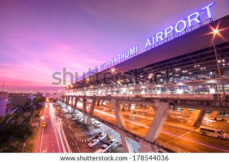 BANGKOK-DECEMBER 02: Suvarnabhumi Airport at sunrise on December 02, 2013 in Bangkok ,Thailand. This airport is the world's third largest single building airport terminal designed by Helmut Jahn. - stock photo