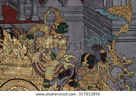 BANGKOK - DECEMBER 26 : THE RAMAYANA PAINTING on the wall in wat phra kaew on December 26, 2015 in Bangkok Thailand