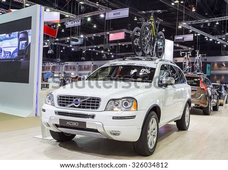 Bangkok - December 28 : white volvo series XC90 - in display at Thailand international motor expo 2014 on December 28, 2014 in Bangkok Thailand