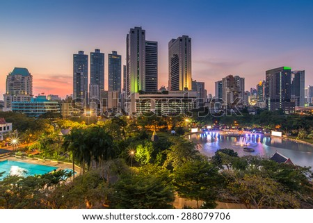 Bangkok Downtown and public park skyline at sunset