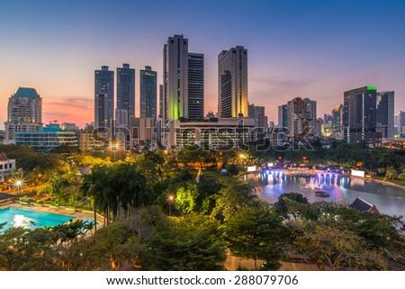 Bangkok Downtown and public park skyline at sunset  - stock photo