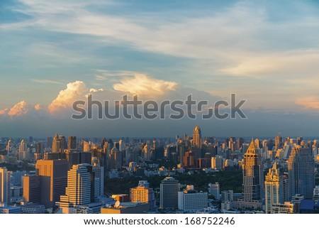 Bangkok downtown at sunset in Thailand - stock photo